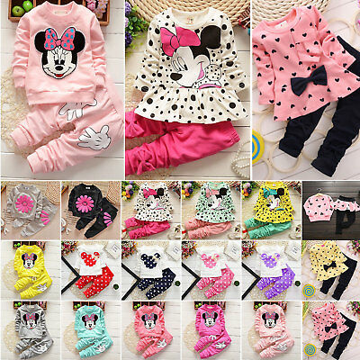 Baby Kids Girls Pullover Tops Pants Outfit Winter Minnie Mouse Cartoon Tracksuit