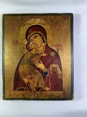 Russian Wood Icon. Madonna and Child. 20th Century. Painted with Gold Gilt.