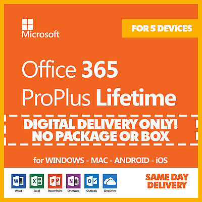 Office 365 Home Personal for PC or Mac Lifetime Subscription 🔐 for 5 Devices