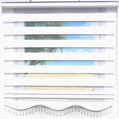 Double Roman Blind Duo Shade Zebra Perde White Uni Plain Opaque Window Curtains