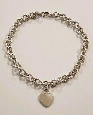 "Tiffany & Co .925 Sterling Silver Blank Heart Tag Charm Necklace 16"" inches"