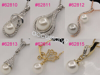 Assorted crystal white pearl bead drop pendant necklace girl fashion jewelry U80