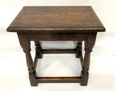 Antique Victorian Oak Joint Stool Occasional Table Lamp Stand