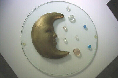Moon and Planets 3D Art Glass Plate by Luna Tika