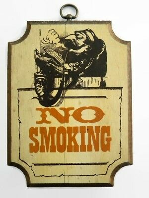 Vintage No Smoking Sign Paint over Solid Wood Board