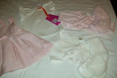 Baby girl Ted Baker pinafore dress set 3-6m and 2 mintini cardigans age 6m