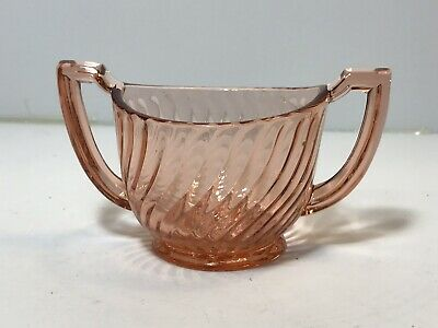 Vintage Pink Depression Glass Double Handle Small Oval Sugar Bowl Art Deco Swirl
