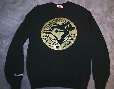 Mitchell & Ness Toronto Blue Jays Black and Gold Crew Neck Sweater Mens Size S