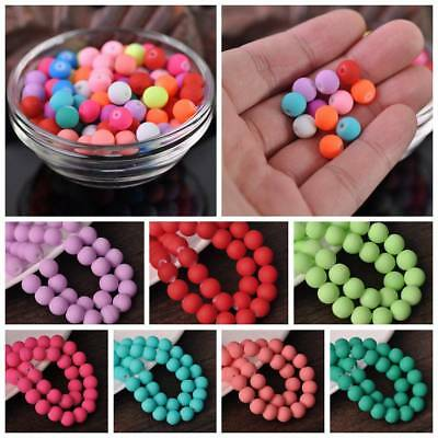 "Hot Sale Glass Matte Rubber Neon Round Loose Spacer Beads 15"" 8mm Bulk Pick"