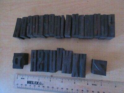 26 x Vintage Printers Wooden Block Letters A-Z Full Alphabet Compressed Capitals