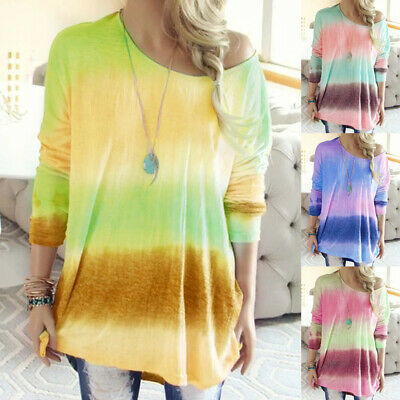 UK Womens Long Sleeve Blouse Tee Loose Baggy Colour Oversized Ladies Shirt Tops