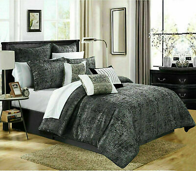 Jacquard Black Quilted Bedspread Bedding Set Bed throw Comforter set Double Size