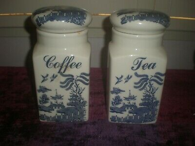 """Regal """"Blue Willow"""" Ceramic Tea and Coffee Jars made in England c.1990's"""