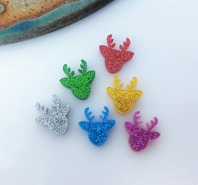 10pc 12mm Reindeer Acrylic Shapes Assorted Colours Glitter Acrylic Cabochon AC21