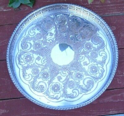 Viners Chased Silver Plate Drinks Glasses Tray Waiter  Pierced Gallery 10 Inche