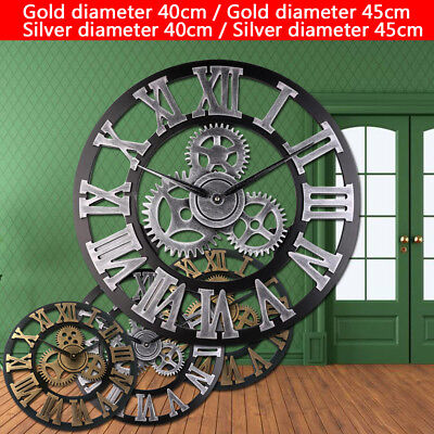 Retro Vintage Large Round Wooden Gold Wall Clock Steampunk Skeleton Home Best