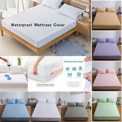 Waterproof Quilted Mattress Protector Cot Bed Wet Matress Cover Fitted Sheet New