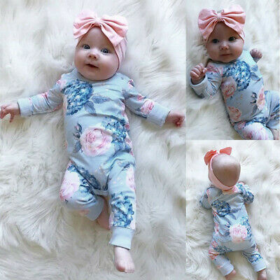 Toddler Kids Baby Girls Cotton Floral Romper Jumpsuit Bow Hair Band Clothes Sets