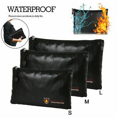 Fireproof Waterproof Money Safe Cash Box Document Bank Bag File Protect Pouch