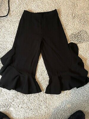 Girls River Island Black Wide  Leg Trousers With Frill