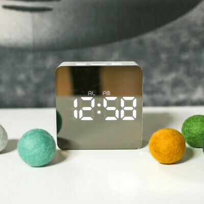 Silent Bedside Snooze Alarm Clock Thermometer Mirror Night LED Digital Clock New