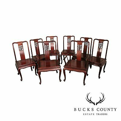 Vintage Chinese Carved Rosewood Set 8 Dining Chairs
