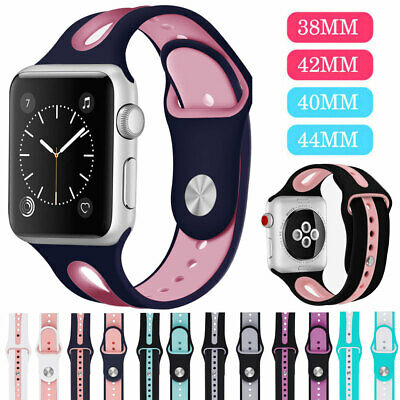40/44/38/42mm Silicone Sports iWatch Band Strap for Apple Watch Series 5 4 3 2 1