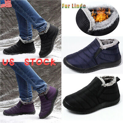 Mens Winter Snow Boots Waterproof Casual Slip On Flat Fur Lined Warm Shoes Size