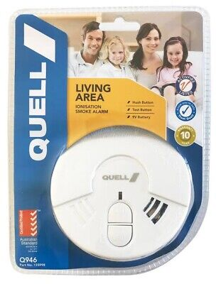 Smoke Alarm Fire Detector Chubb/Quell® Ionisation Aus Certified + 9v Battery