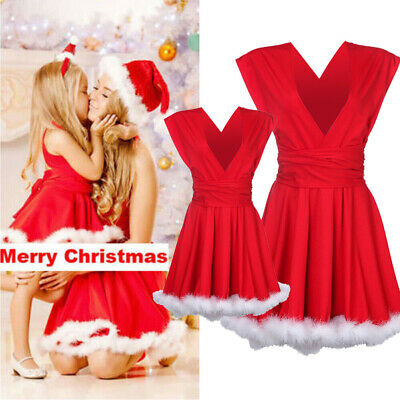 Mom Daughter Christmas Party Holiday Costume Women Girls Xmas Dress Outfit USA
