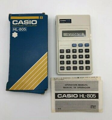 1980s Vintage Retro Casio HL-805 Electronic Calculator with Box and Manual
