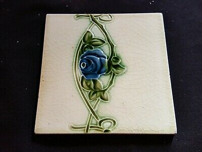 "Reclaimed Antique Single 6"" x 6"" Art Nouveau Tile Tiling Decor (ER348)"