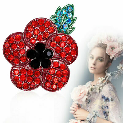 New Poppy Pin Badges 2019 Crystal Enamel Brooch Red Badge Lapel Remembrance Day