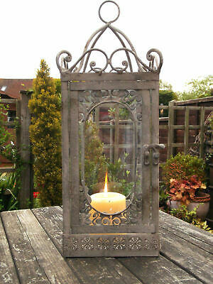 Antique French Vintage Style Large Lantern Candle Holder Garden or Home Rustic