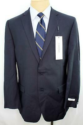 New 42L  Calvin Klein Modern Fit Blue Double Vent 100% Wool Sport Coat Blazer N9