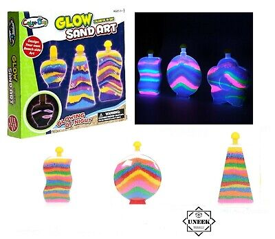 Creative 3 GLOW SAND ART BOTTLES SET Kids Craft Hobby Bottle Toy Box PM571066 UK