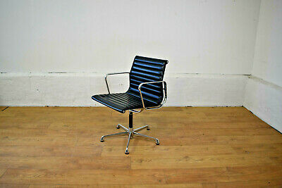 Vintage ICF Charles Eames Black Leather / Alloy Executive Boardroom Chair
