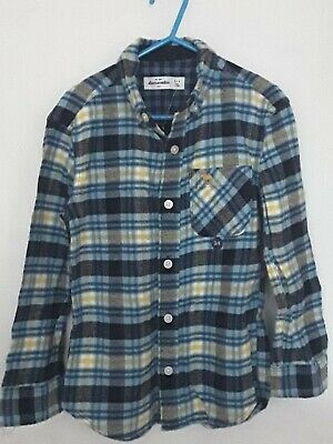BNWT Abercrombie & Fitch Boys kids 3-4 yr blue cotton checked long sleeve shirt