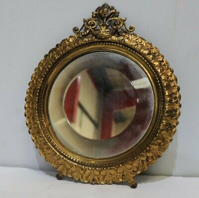 Vintage Round BRASS Scroll Design HEAVY Beveled Mirror Gold Ornate Frame - 250