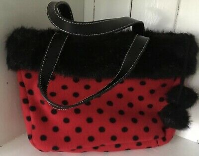Dents 1777 Red & Black Hand Bag Polka Dots Spot Design Faux Fur Pom Pom Glamrock