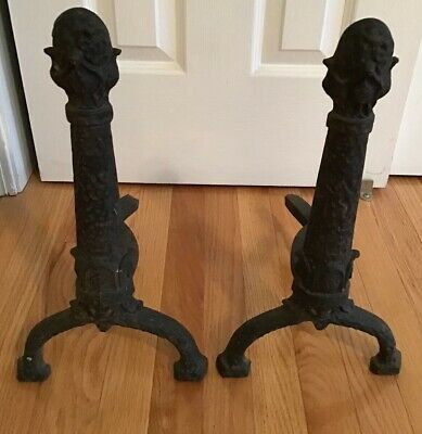 Vintage Antique Art Nouveau ? Black Cast Iron Andirons Fireplace F & M CO Ohio