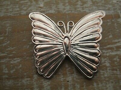 Beautiful Antique Style Sterling Silver Butterfly Brooch / Tie Pin / Badge