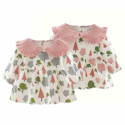 Baby Girls Short Dress Spring Autumn Long Sleeve Doll Collar Floral Clothes R1BO