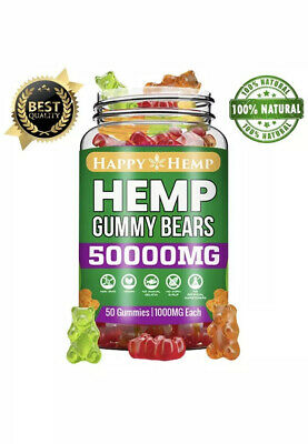 Happy Hemp Gummies 50,000 MG 50 Sweets Great Dale Stress Relax Anxiety Healthy