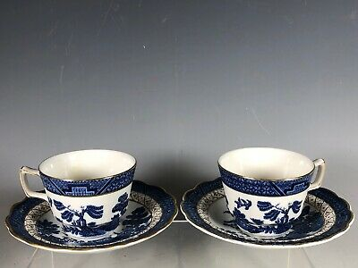 2 Booths Real Old Willow CUP SAUCER Set A8025  England Blue Willow Royal Doulton
