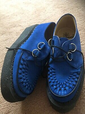 1950s mens  Blue Suede Crepe Soled Shoes Uk8