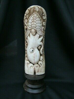 Unusual Hand Carved Scrimshaw Statue Of Octopus Hunting Prey On Wood Base