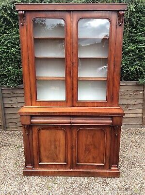 Antique Victorian Bookcase Chiffonier Mahogany Dresser Arch Panels With Corbels