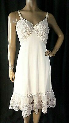 VTG Nude Beige 100% Nylon Tricot Slip 36 Lace Sheer Chiffon Full Length Fitted