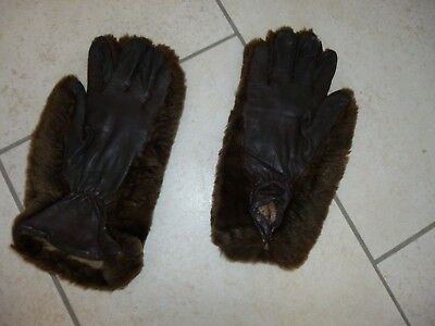 VINTAGE Brown Faux Fur/Leather Ladies Gloves Size L